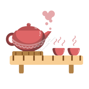 深红色茶具茶杯插画