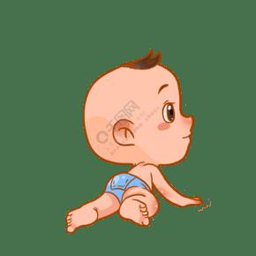 趴着的婴儿宝贝插画