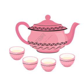 粉色的茶壶茶杯插画