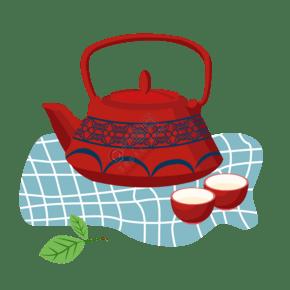 黑色的茶具茶杯插画