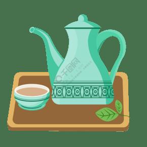 天蓝色的茶具插画