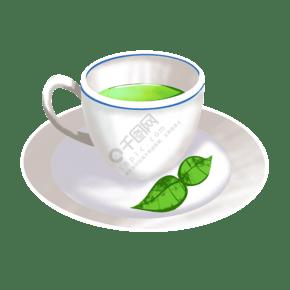 白色的茶杯茶叶插画