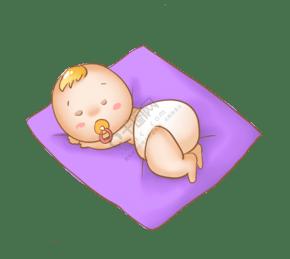 趴着的婴儿的插画