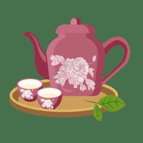 深红色茶壶茶杯插画