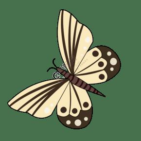 淡黄色蝴蝶卡通插画
