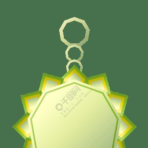 绿色花边徽章插画