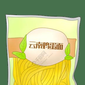 卡通云南鸡蛋面插画