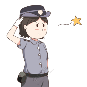 敬禮的女警察插畫