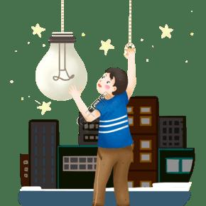 地球一小時男孩和燈泡插畫