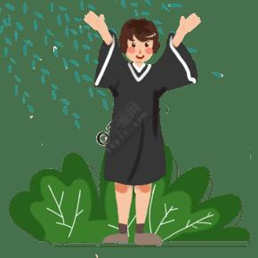 毕业季毕业啦手绘插画