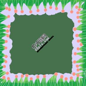 春夏绿色可爱花鸟边框PNG图片