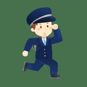 奔跑的警察免摳PNG素材