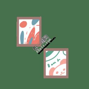 二个图片画框免抠图