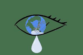 保护水资源流着眼泪的眼睛中的地球