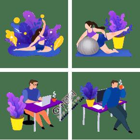 扁平風辦公運動系列