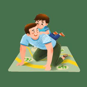 爸爸背著兒子玩耍場景