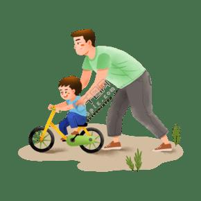 爸爸教兒子騎車子場景