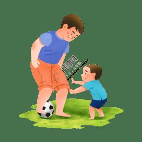 爸爸和兒子踢球場景