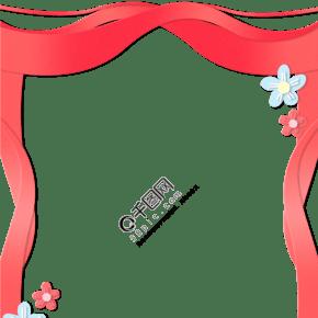 简约立体剪纸风红色花朵边框