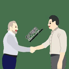 扁平風格商務會談握手合作建立合作關系事業