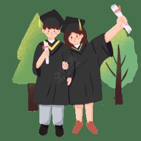毕业生情侣合照板绘插画元素