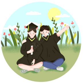 毕业生毕业照卡通手绘小清新可爱插画元素