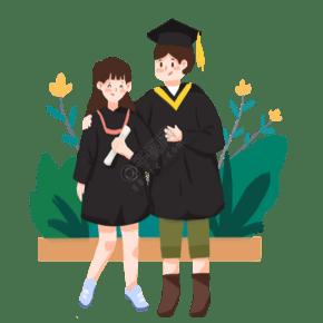 毕业生拍照情侣小清新留影板绘插画元素