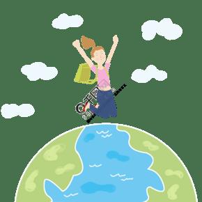女性環游地球旅游扁平風元素