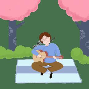 戶外悠閑娛樂彈吉他扁平風元素