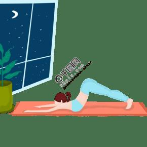 女性家里瑜伽運動扁平風元素