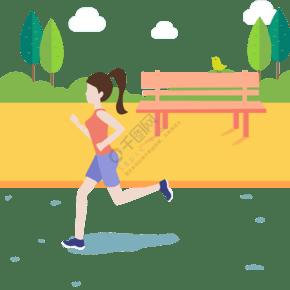 女性戶外跑步運動扁平風元素