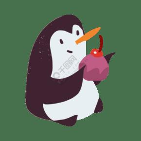 一個捧著甜點的企鵝