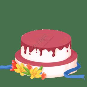 卡通紅色奶油蛋糕免摳圖