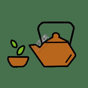 卡通日式茶道插画