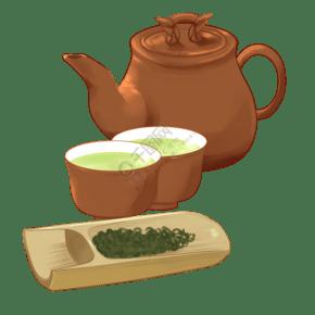 黄色的茶壶和茶杯