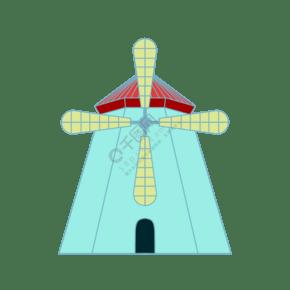 创意卡通风车插画