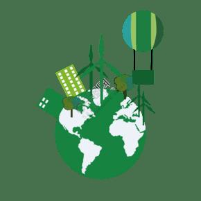 創意環保風車插畫