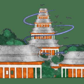 中国建筑塔楼群装饰