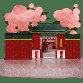 建筑景点故宫装饰桃花