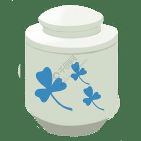 白色的叶子茶叶罐插画