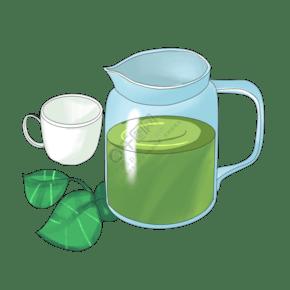 漂亮的茶具茶叶插画
