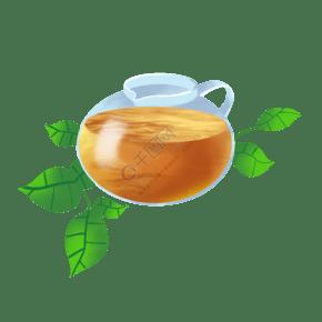 玻璃容器茶具插画