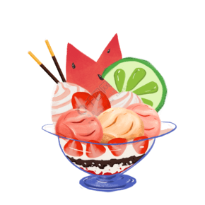 新鮮的水果免冰淇淋免摳圖