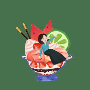 女孩坐在冰淇淋里免摳圖