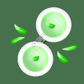 绿色绿茶茶杯插画