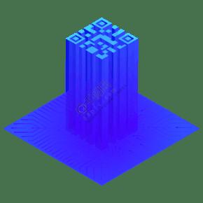2.5D科技感二維碼矢量免摳png