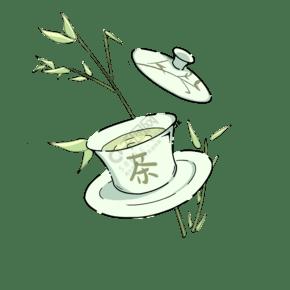 竹子茶叶装饰插画