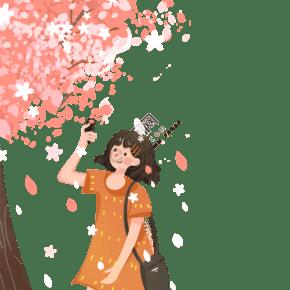 小女孩在栅花树下拍照免抠图