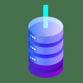 紫色圆柱创意数据处理器元素