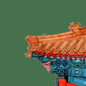 彩色手绘故宫屋檐装饰画